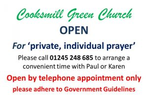 Cooksmill Green Church open